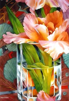 Jean Crane pushes the highlights on the petals to a white shine. Soft neutralized colors with small pops of more vibrant color create a lush composition. The vibrant green area speaks to the transparency of the glass.  Hard edges of the glass contrast to the soft petals. Values are carefully chosen to contrast or blend with adjacent areas.