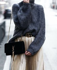 Skirt tucked sweater and belt