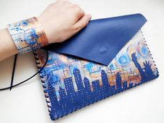 New York clutch New York gift USA leather bag New by spiculdegrau