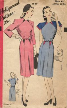 Hollywood 1629 - 1940s Gorgeous Post WWII Hollywood Dress Pattern Size 30 Bust | eBay @Rochelle New