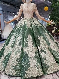 Pink Ball Gown High Neck Long Sleeve Sequins Appliques Wedding Dress With Removable Train Ball Dresses, Ball Gowns, Quince Dresses, Famous Wedding Dresses, Applique Wedding Dress, Long Sleeve Wedding, Beautiful Gowns, Pretty Dresses, Lace Dress
