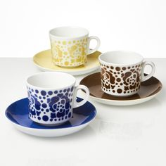 Arabia Ruusu Coffee for Three, Vintage Stencil Printing, Nordic Home, Vintage Dishes, Blue Design, Geometric Shapes, Finland, Coffee Cups, Scandinavian, Stencils