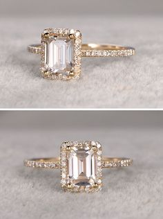 Stunning emerald cut Moissanite engagement ring in gold | See more: http://theweddingplaybook.com/classic-black-gold-white-wedding-inspiration/