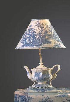 78250112247832071 Blue Toile Teapot Lamp   Kids Room Decor Lighting