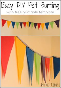 Easy DIY felt bunting with free printable template from And Next Comes L