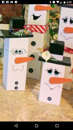 Christmas crafts - post snowmen #christmascrafts