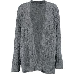Boohoo Leah Cable Cardigan With Pockets   Boohoo ($30) ❤ liked on Polyvore featuring tops, cardigans, chunky cable knit cardigan, boyfriend tank top, crochet cardigan, boyfriend cardigan and batwing cardigan
