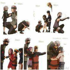 Team 7, Team Minato, Sakumo, father, Rin, Obito, Naruto, Sakura, Sasuke, Kakashi, text, sad, young, childhood, different ages, time lapse; Naruto