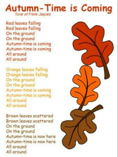 Autumn Song. . . Use with color words printed on leaves for each group to act out when singing