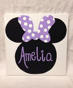 Minnie Mouse Name Canvas 18x18 by MegansCanvases on Etsy, $40.00