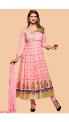 Pink Cotton Anarkali churidar Suit With Dupatta - 1759