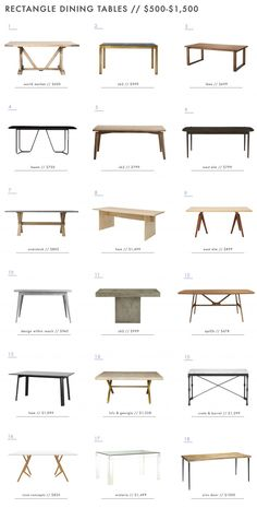 Rectangle Dining Tables $500 to $1500