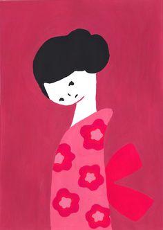 Sato Kanae - deep pink illustration