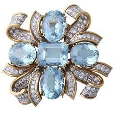 TIFFANY & CO SHLUMBERGER Diamond, Gold, and Aquamarine Brooch. Circa 1959.