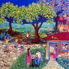נאיבי אקריליק שמן צבע שמחה ציור נאיבי