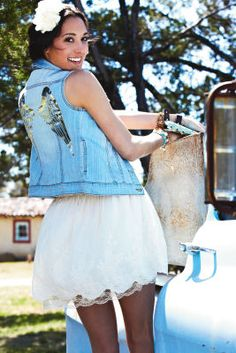 Wings Denim Vest.  Make wings on tshirts for summer fairy theme? (easier to wear than big wings)