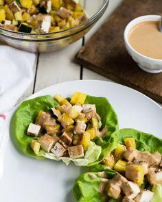 Grilled Teriyaki Tofu Lettuce Wraps with Creamy Sesame Dressing