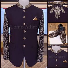 Tropical Glorious Prince Coat, hand embroidered with scrupulous details, Exclusively customized by Uomo Attire (www.uomoattire.com) ☎️ For #Pricing & #Appointment inbox us OR Call/WhatsApp on +92300-766-8666 OR +92300-761-8666 Store Location: LG 3-4, 26-CI, Al-Hafeez Tower, Near GNC, MM Alam Road, Gulberg III, Lahore. #Bespoke #MTM #CustomMade #Madetomeasure #Mens #Suit #Sherwani #PrinceCoat #Tuxedo #Menswear #style #Sherwanidesign #Luxury #mens #Wedding #Waistcoat #Groom #custom #checksuit Wedding Dresses Men Indian, Indian Wedding Fashion, Wedding Dress Men, Indian Men Fashion, Mens Fashion Suits, Wedding Suits, Men's Fashion, Nehru Jacket For Men, Mens Shalwar Kameez