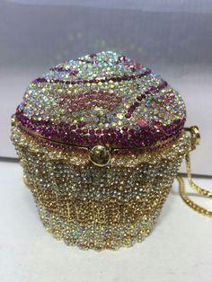 Pink GoldAB Cupcake Shaped ~Handmade Austria Crystal 3D Shaped Cocktail Bag