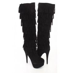 Black Fringe Round Close Toe High Heel Boots Faux Suede ($20) ❤ liked on Polyvore featuring shoes and boots