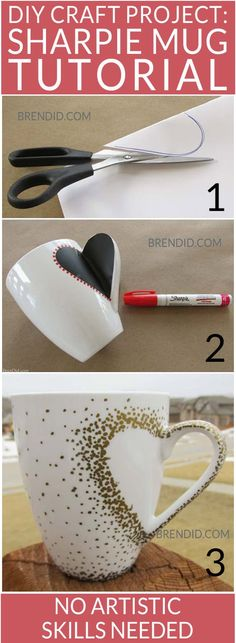 DIY Craft Project: Sharpie Mug Tutorial - Custom heart handle mugs that require no artistic ability or transfers! If you can trace and make dots you can make these mugs! Learn the easy hack! Uses oil based Sharpie paint pens that are baked on. Sharpie Paint Pens, Sharpie Crafts, Sharpie Mugs, Sharpies, Oil Sharpie, Diy Mugs, Sharpie Markers, Coffee Cup Sharpie, Sharpie Mug Designs