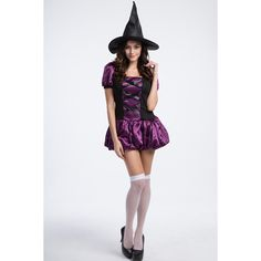 Purple Sexy Witch Costume ($26) ❤ liked on Polyvore featuring costumes, purple, witch costume, purple halloween costumes, sexy witch halloween costume, purple costume and sexy costumes