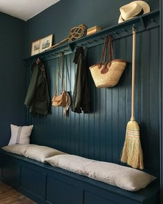 By embracing the darkness in her north facing boot room, Paris has created an dramatic and intimate space with Hague Blue. Grey Hallway, Hallway Walls, Hallway Storage, Wall Storage, Armoire Entree, Boot Room Utility, Wall Paint Colors, Bathroom Colors, Kitchen Colors