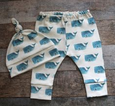 Whales, Organic Baby Boy Clothes, Hat and pant set, Baby Leggings, Baby Set…