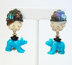 Vintage Carved Turquoise Bear Earrings Sterling Silver Pierced Signed 515EG by GretelsTreasures on Etsy https://www.etsy.com/listing/232414869/vintage-carved-turquoise-bear-earrings