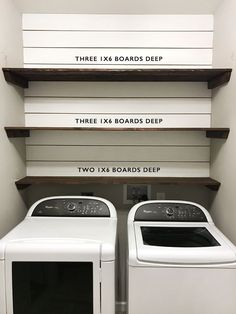 Laundry Room with shiplap accent wall and diy rustic wood shelving