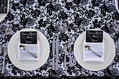 black lace wedding table linens Black Wedding Themes, Wedding Colors, Wedding Ideas, Wedding Wishlist, Wedding Table Linens, Modern Wedding Inspiration, Wedding Place Settings, Lace Table, Wedding Gallery