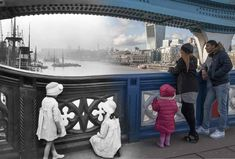 Tower Bridge c.1920 and 2014. | 16 Ghostly Hybrid Images Of London Old And New < this is possibily the eeriest one of the lot