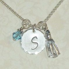 Scuba Fin Hand Stamped Sterling Silver by DolphinMoonCreations