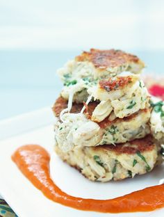 Low Carb Crab Cakes w/ Roasted Red Pepper Sauce from I Breathe, I'm hungry. No mayo!