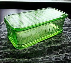 Vintage Anchor Hocking Green Vaseline Depression Glass Refrigerator Dish 1930s