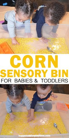 Corn Sensory Bin HAPPY TODDLER PLAYTIME Kernels of corn are both fun to eat and fun to play with! Here is a fun sensory bin activity for babies toddlers and preschoolers! Baby Sensory Play, Sensory Bins, Sensory Activities, Baby Play, Infant Activities, Learning Activities, Activities For Kids, Sensory Rooms, Farm Sensory Bin