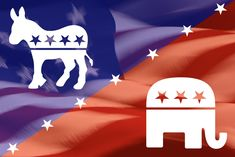 donkey and elephant over American flag