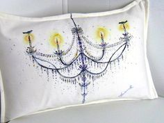 Chandelier Painted Pillow Ornate Slate Blue by FeatherSisters, $95.00
