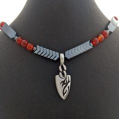 Mens Arrow Head Hematite Carnelian Necklace, Dragon Eye Arrow Head Pendant, Mens Jewelry, Mens Accessory