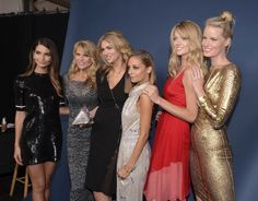 Models Lily Aldridge and Christie Brinkley winner of Model of the Year Kate Upton host Nicole Richie model Lindsay Ellingson and a guest attend the...
