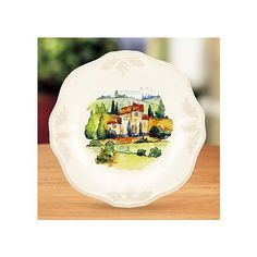 Artimino Tuscan Countryside-Cream Footed Cheese Plate with Glass ...