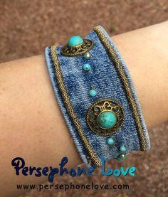 Denim Bracelet, Denim Earrings, Fabric Bracelets, Fabric Jewelry, Cuff Bracelets, Jean Crafts, Denim Crafts, Ethno Style, Recycled Denim