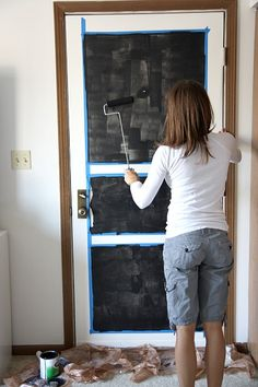 Chalk Board Paint Door - I so want to do this to my pantry door!