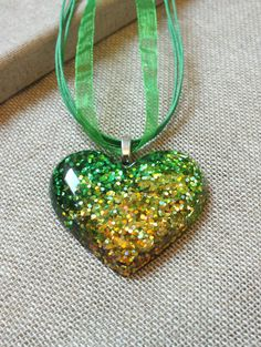 Resin Necklace  Green Glitter Heart Shaped by TheMuckyPupGallery