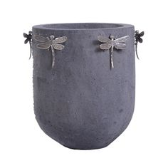 Dragonflies cement pot with silver dragonflies. Can use as herb containers.