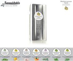 """Η σειρά μας """"Μεσογειακές Γεύσεις Σαβουιδάκης Μεγαλώνει!""""  #mediterranean_tastes_savouidakis #extra_virgin #olive_oil Lemon Olive Oil, Garlic Olive Oil, Crete, Products, Gadget"""