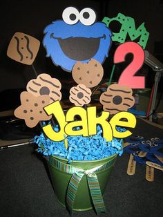 Cookie Monster Party  decor.... could make one of these for Jaz and one for Marcus and place presents around them.
