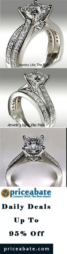 #priceabatedeals 14k White Gold Sterling Silver Princess Diamond Engagement Ring Wedding Set 8 - Buy This Item Now For Only: $69.99