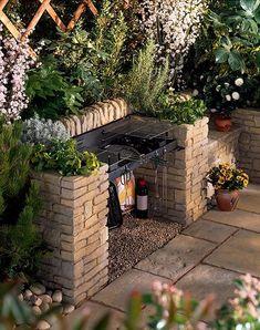 Beautiful Outdoor Bbq Griller In 2019 Bbq Area Garden Garden Bbq Ideas, Bbq Area Garden, Diy Bbq Area, Barbecue Ideas Backyard, Patio Ideas, Bbq Diy, Barbecue Area, Bbq Grill, Backyard Ideas