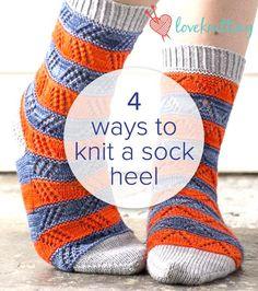 Knitting Patterns Tutorial 4 ways to knit a sock heel – FREE tutorial on LoveKnitting … Love Knitting, Knitting Stitches, Knitting Socks, Hand Knitting, Knitting Patterns, Finger Knitting, Scarf Patterns, Stitch Patterns, Crochet Socks